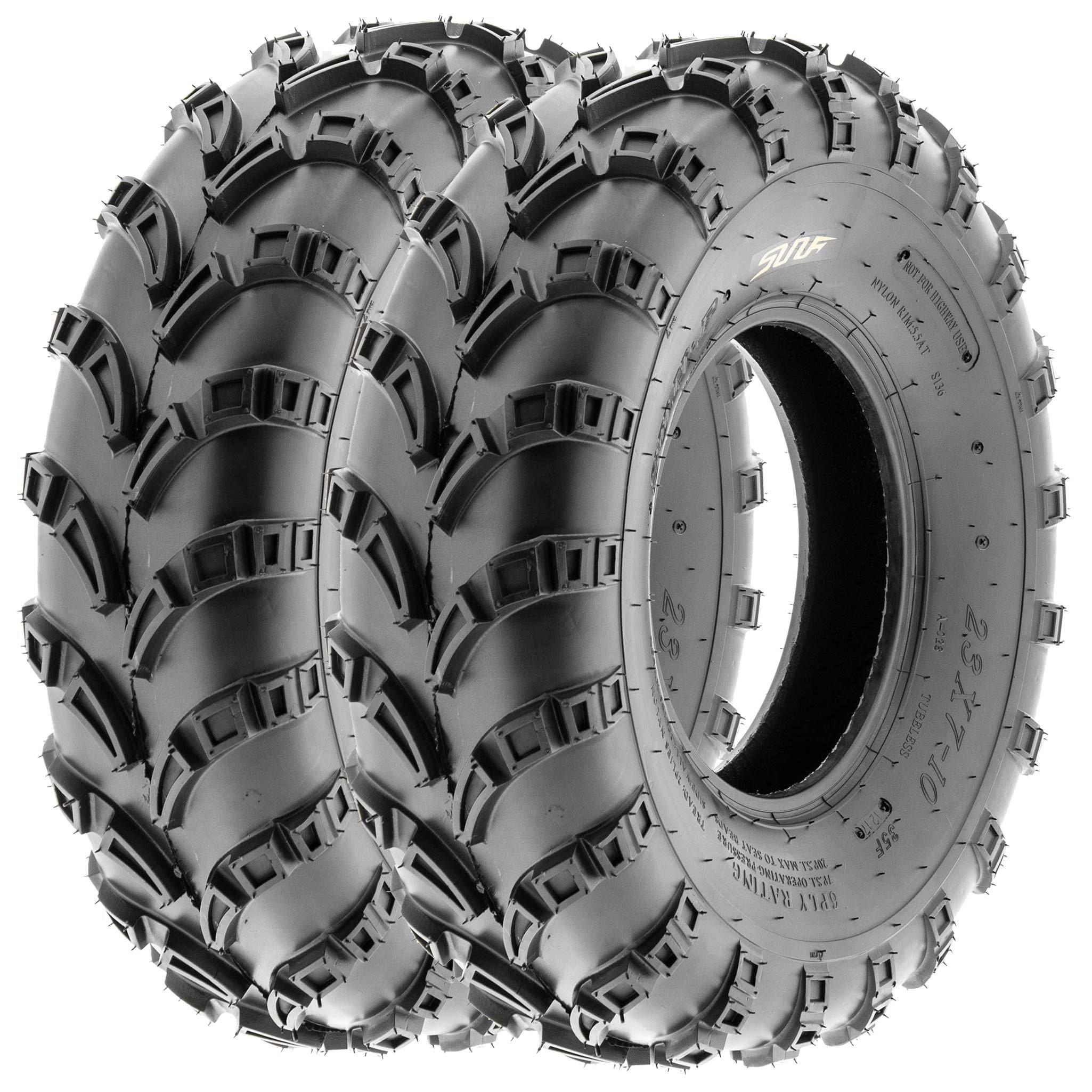 SunF 23x7-10 23x7x10 ATV UTV Trail Race Replacement 6 PR Tubeless Tires A028, [Set of 2]