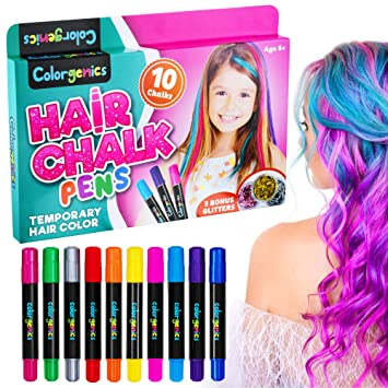 Amazon Com Colorgenics Hair Chalk For Girls Temporary Hair Chalk For Kids 10 Color Hair Chalk Pens Glitters Non Toxic Washable Hair Color For Kids Hair Dye For Girls Great Birthday Gifts For