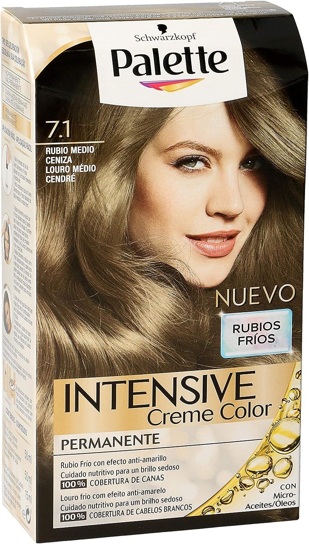 Schwarzkopf Palette Intense Coloración Permanente Tono 7.1 Rubio Medio Ceniza - 1 ud de 115 ml