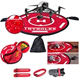 """Big Weighted OR Anchored Drone Landing Pad 30""""/75cm Waterproof with Bonus 2 Propeller Fixing Straps and Functional Carrying B"""