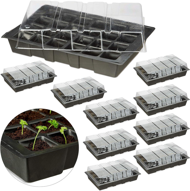 Relaxdays Pack 10 Semilleros Mini con 24 Compartimentos, Tapa y Bandeja con Orificios, Plástico, Negro, 4,5 x 45 x 23 cm