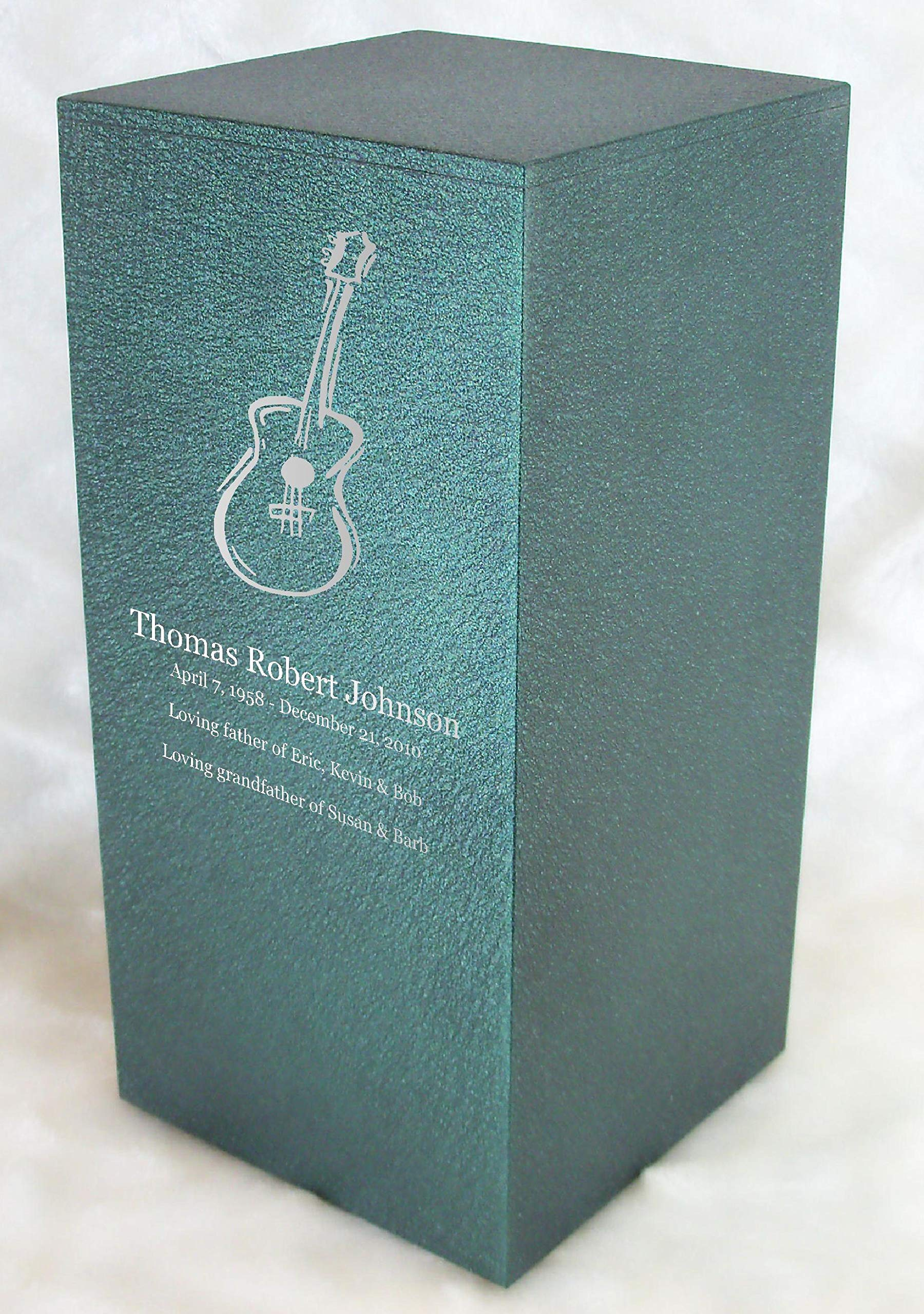 Personalized Engraved Guitar Cremation Urn for Human Ashes - Made in America - Handcrafted in The USA by Amaranthine Urns, Adult Funeral Urn - Eaton DL (up to 200 lbs Living Weight) (Forest Green) by Amaranthine Urn Company (Image #1)