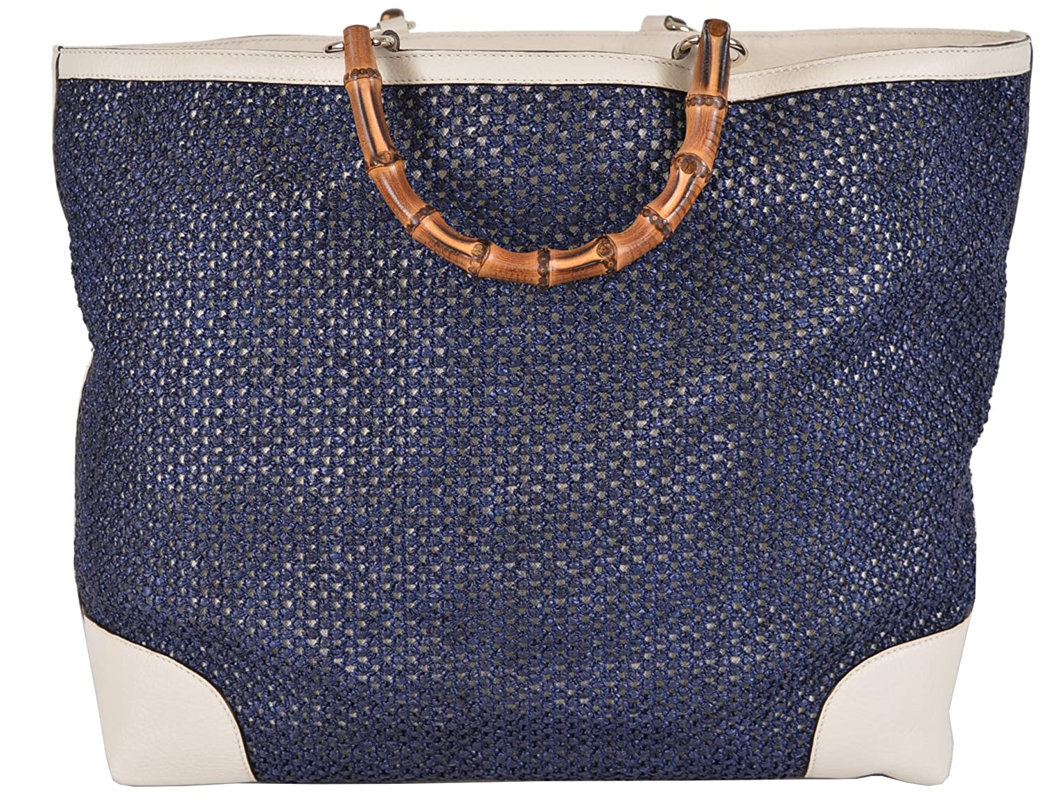 89d292a37 Amazon.com: Gucci Women's Large Blue Straw Leather Bamboo Handle Handbag  Tote: Shoes