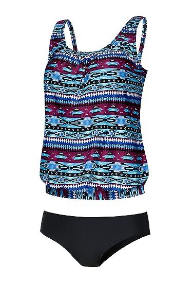 b82a5ff593c73 Crazycatz@Women Two Piece Blouson Sporty Tankini Set Floral Swimwear (M US  8,