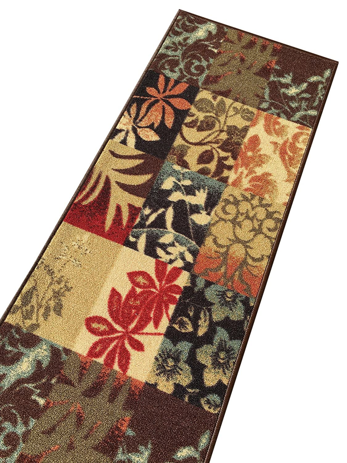 Kapaqua Rubber Backed 2'8 x 10' Italian Floral Panel Boxes Brown Multicolor Long Non-Slip Runner Rug - Rana Collection Kitchen Dining Living Hallway Bathroom Pet Entry Rugs RAN2029-310 2029-3X10