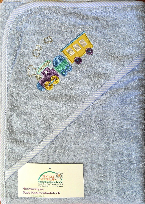 Baby con cappuccio asciugamano 100x 100cm, colore: celeste, con treno ricamato, in spugna, 100% cotone, Ökotex KH-Haushaltshandel KH-H-KBT-3