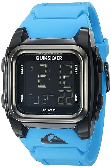 Vaso para llevar con tapa Grom Quiksilver para hombre esfera reloj Digital pantalla Digital con pantalla LCD y azul correa de silicona QS/1020bkbl: ...