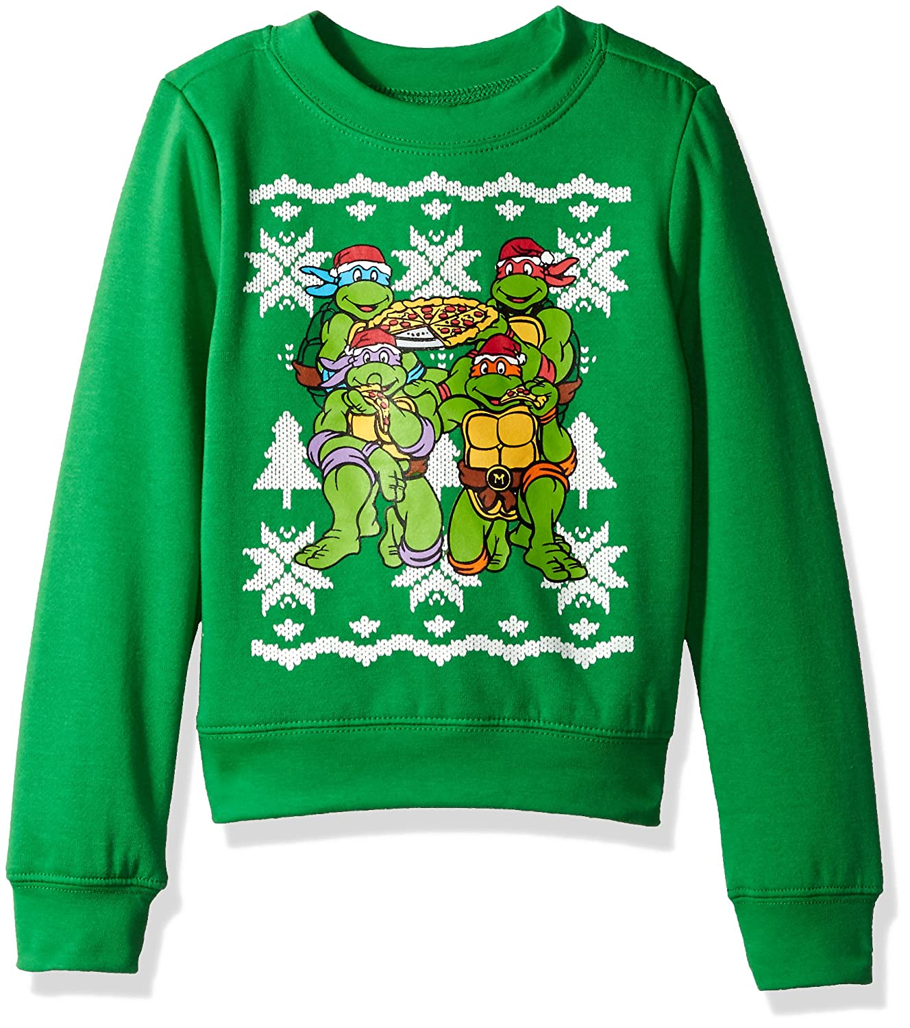 Teenage Mutant Ninja Turtles Boys Toddler Xmas Long-Sleeved Crew Sweatshirt, Kelly Green, 3T
