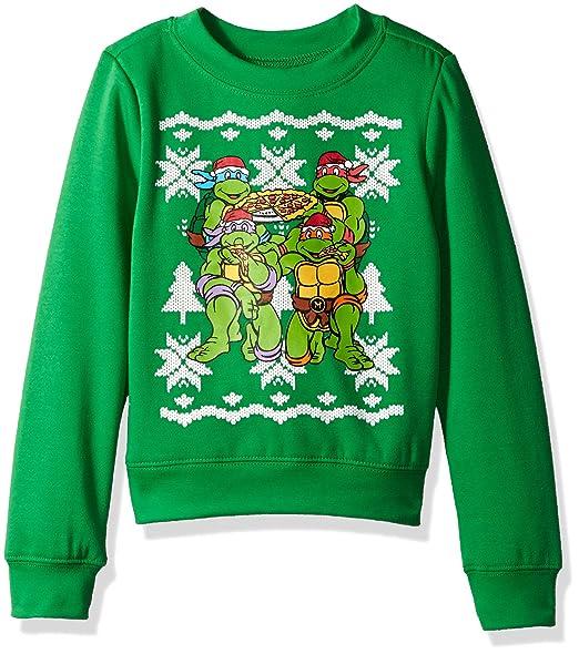 Teenage Mutant Ninja Turtles Boys Toddler Xmas Long-Sleeved Crew Sweatshirt, Kelly Green, 3T