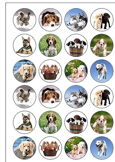 24 Pretagliati Carino Cani Cuccioli Di Ostia Commestibile Topper Per