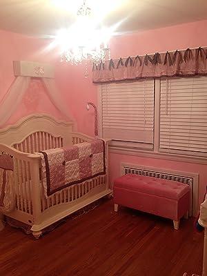 Cream Ivory pink Crib Nursery Canopy white sheer curtains