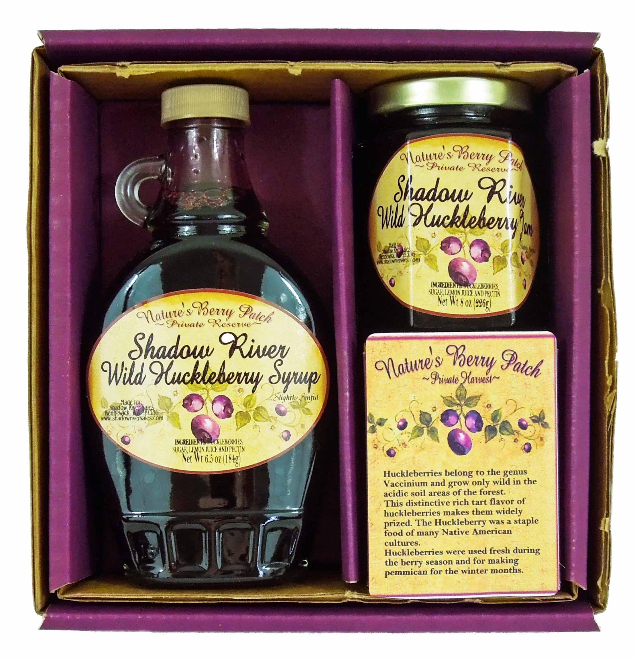 Shadow River Wild Huckleberry Gourmet Boxed Set 8 oz Jam & 10 oz Syrup