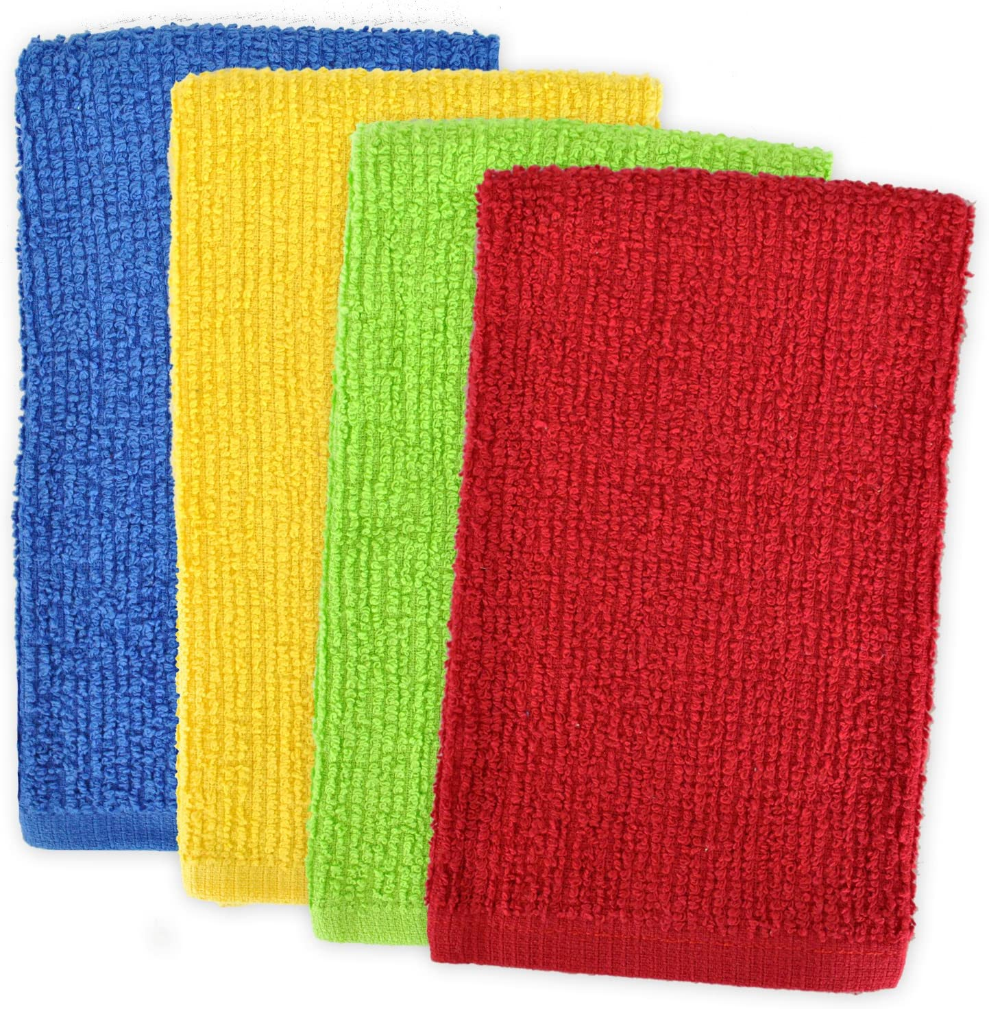 16 x 19 /& Dishcloths 12 x 12 Set of 8 DII Kitchen Bar Mop Dishtowels Assorted Bright