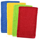"DII 100% Cotton, Machine Washable, Ultra Absorbent, Everyday Kitchen Basic, Utility, Bar Mop Dishtowel 16 x 19"" Set of 4- Primary"