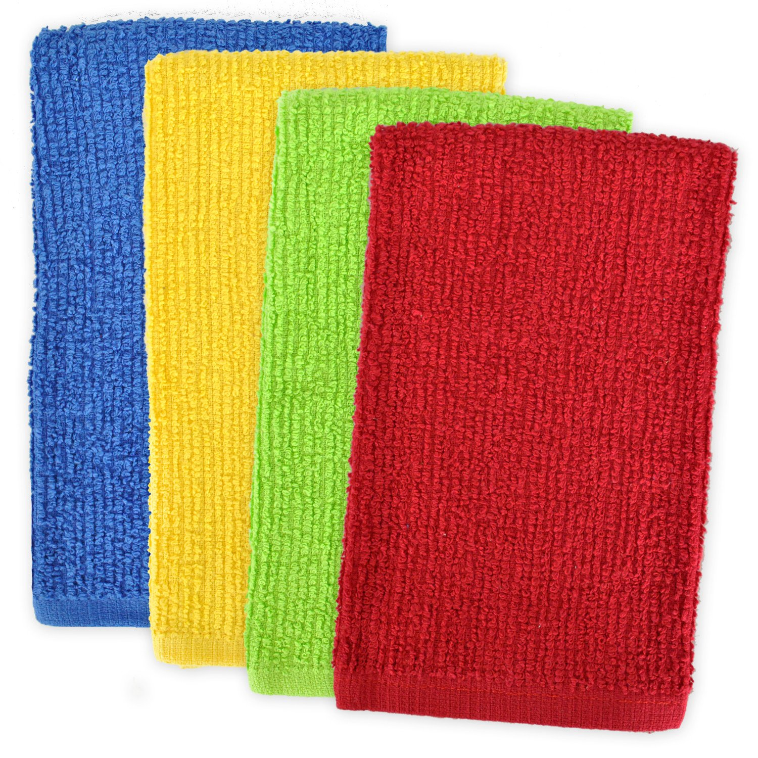 DII 100% Cotton, Machine Washable, Ultra Absorbent, Everyday Kitchen Basic, Utility, Bar Mop Dishtowel 16 x 19 Set of 4- Primary