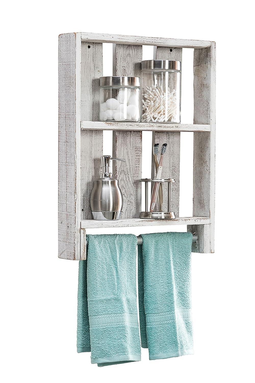 Amazon.com: del Hutson Designs Bath Shelf w/Towel Rod (White): Home ...