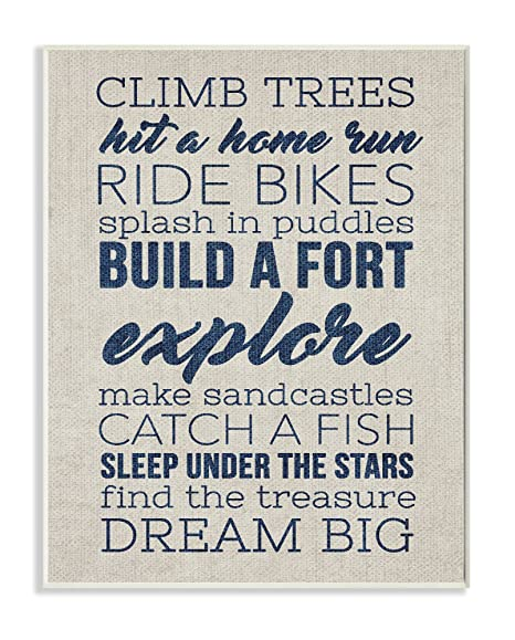 10 x 0.5 x 15 Proudly Made in USA Stupell Home D/écor Climb Trees Dream Big Navy with White Wall Plaque Art