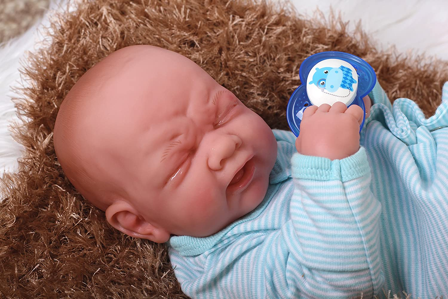 """Cute Baby Crying boy Realistic Looking Anatomically Correct Preemie Berenguer Newborn Reborn 14\"""" Inches Alive Doll Accessories Fully Washable 91lNc0awkJLSL1500_"""
