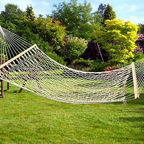 Beau Utheing 2 Person Cotton Rope Hammock Garden Patio Yard Hanging Tree Double  Hammock With Wood Spreader