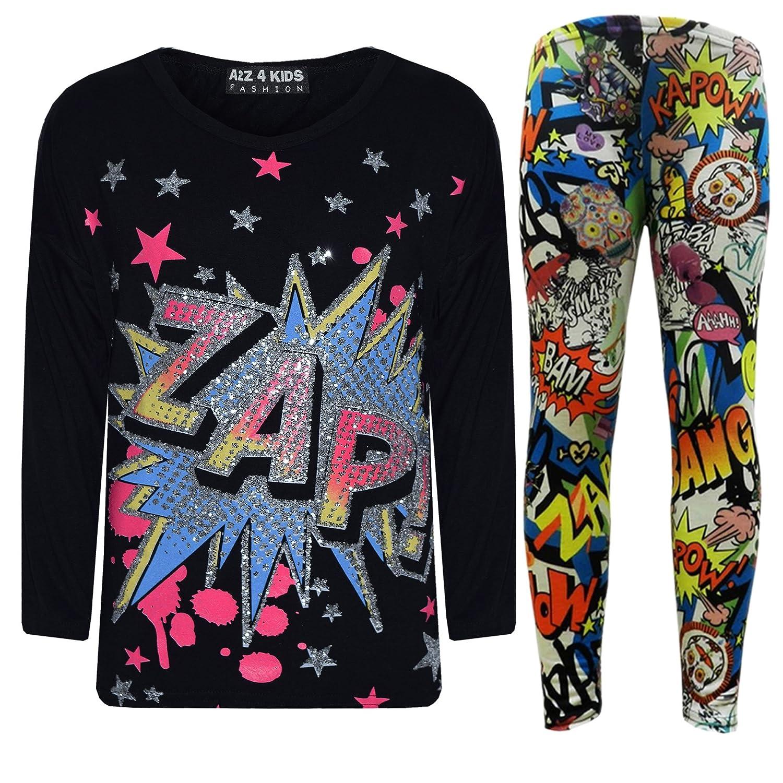 New Girls  ZAP  Print Party Fashion Top T Shirt & Comic Book Legging Set 7-13