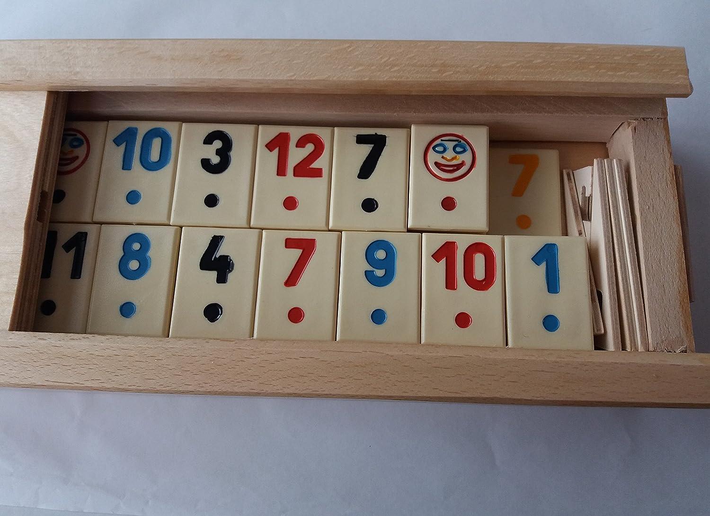 Nuevo gran rummy, rummikub juego con pieza beige, niños, viajes, estrategia, juego de la familia, juego de mesa en madera hecha a mano caja de madera