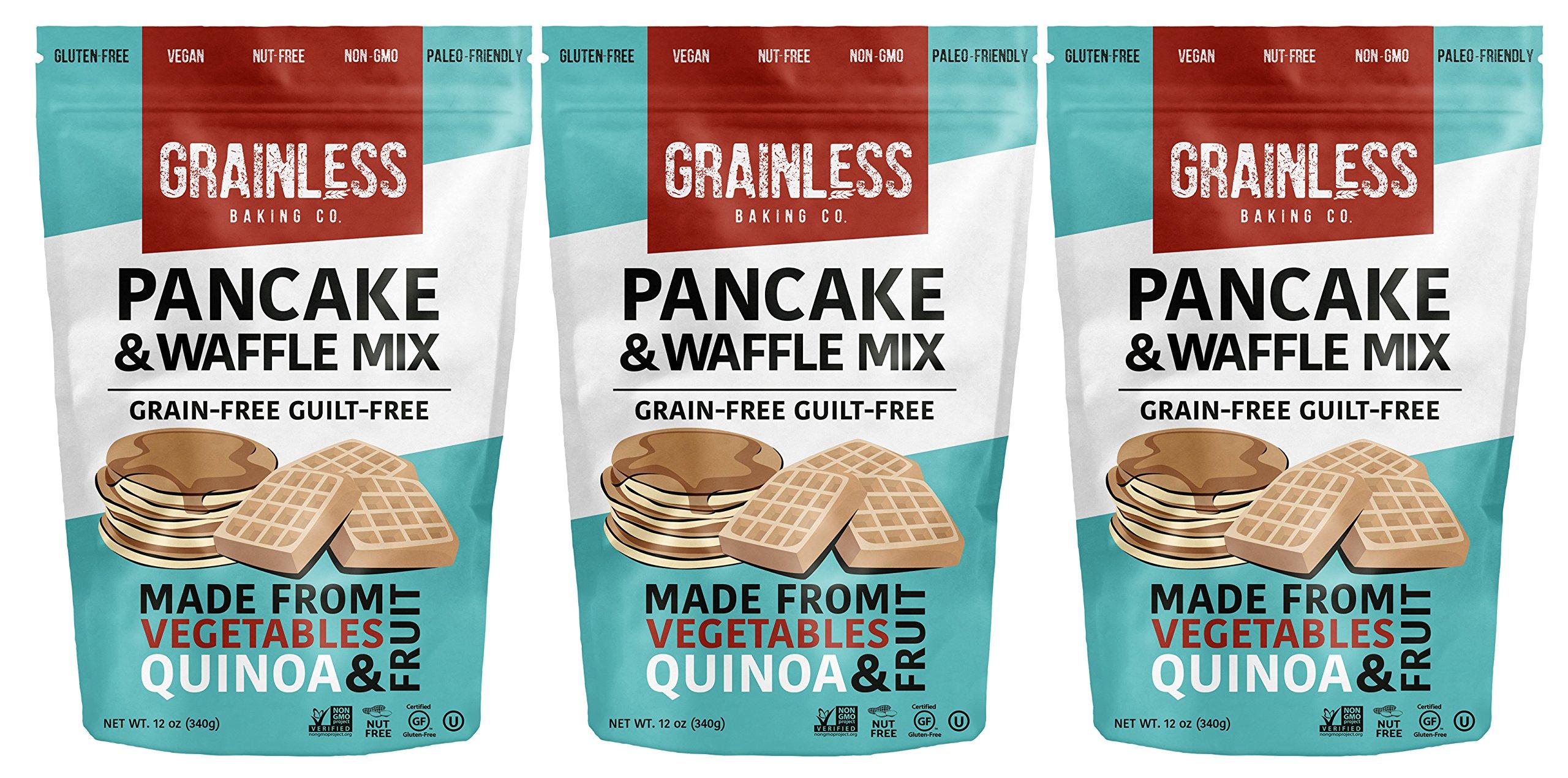 Grainless Grain Free Pancake Mix | Grain-Free Waffle Mix (Flour) - Baking Flour for Grain Free Pancakes, Grain-Less Waffles & Crepes | Gluten Free, Nut & Soy Free, Paleo Friendly, OU Kosher, 3 Packs by Grainless Baking Company