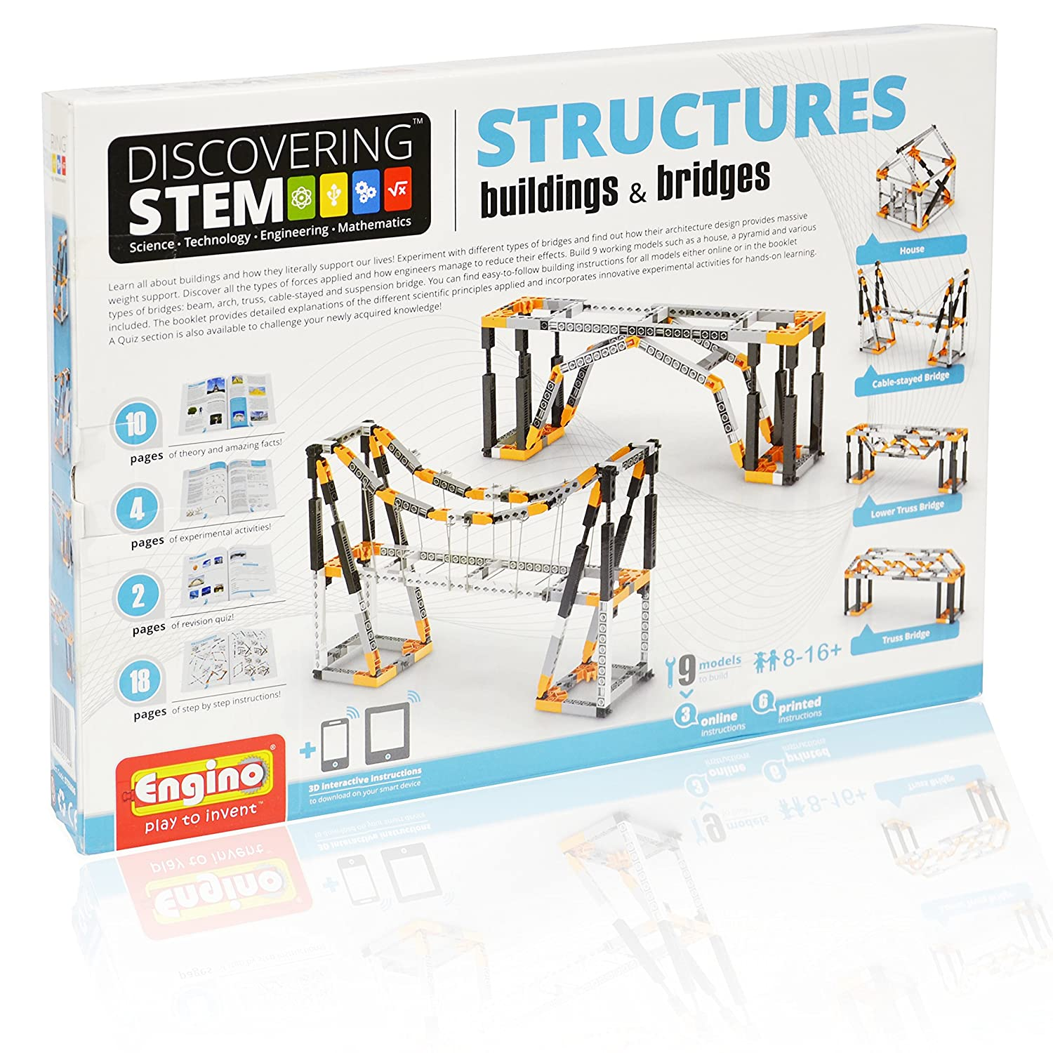 Engino Discovering STEM Structures Constructions & Bridges | 9 Working Models | Illustrated Instruction Manual | Theory & Facts | Experimental Activities | STEM Construction Kit Elenco Electronics Inc ENG-STEM06