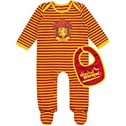 HARRY POTTER Baby Boys' Gryffindor Footies & Bib Set Size 6-9 M