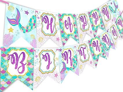 Amazon.com: Pancarta con purpurina con diseño de sirena para ...