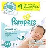 Pampers Baby Wipes Sensitive 7X Pop-Top Packs, 392 Diaper Wipes
