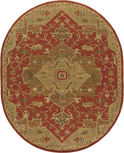 Surya Hand Tufted 100-Percent Wool Classic Oval Area Rug, 8-Feet by 10-Feet