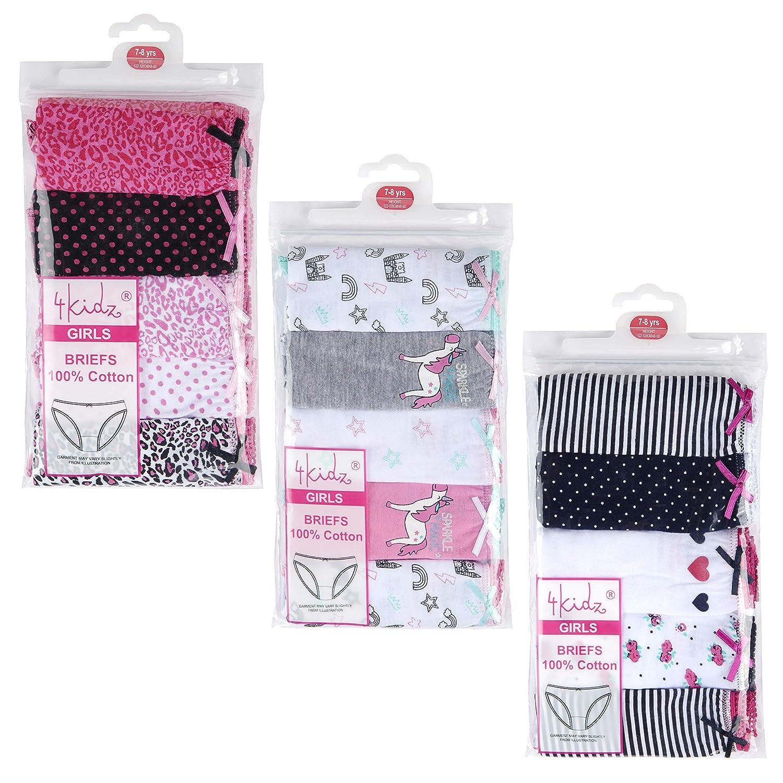 10 Pairs 10 Pairs , 3-4 Years 4Kidz Girls Everyday Novelty Cotton Shorties Knickers Flamingo Unicorns Mermaid Fruit Animals Stripes /& Leopard