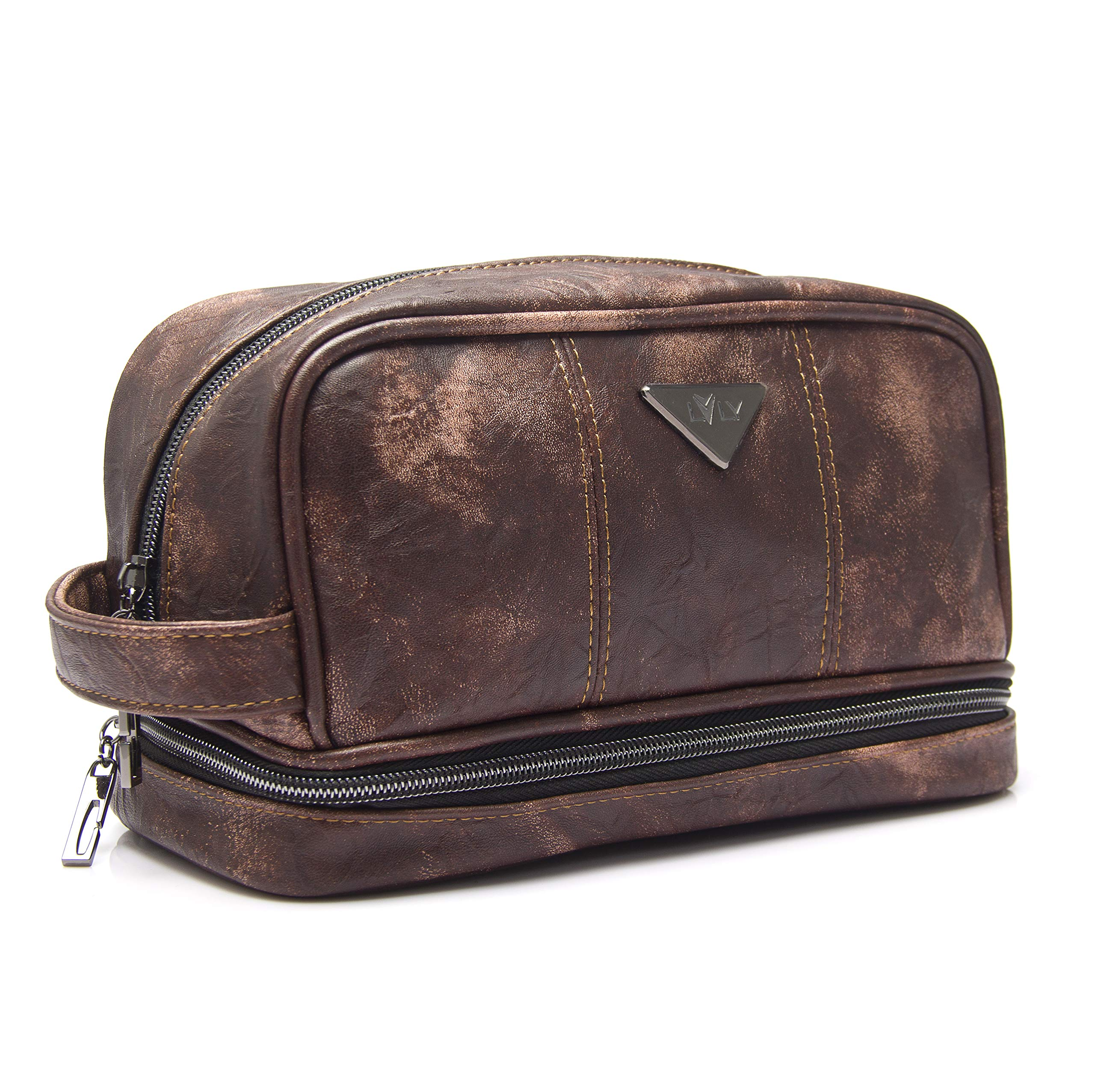 Toiletry Travel Bag for Men - Large Leather Dopp Kit - Mens Toiletries Bathroom Organizer by LVLY (Brown)