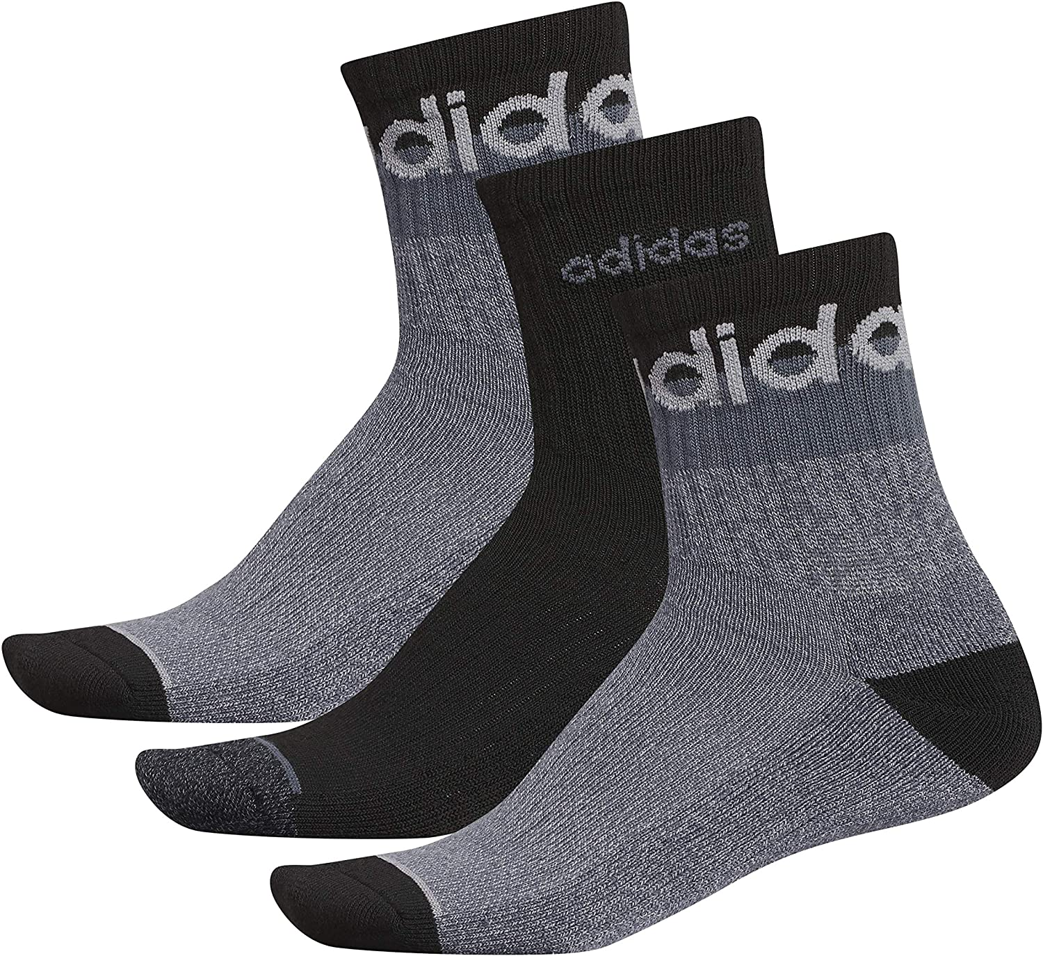 adidas mens Blocked Linear High Quarter Socks (3-pair)