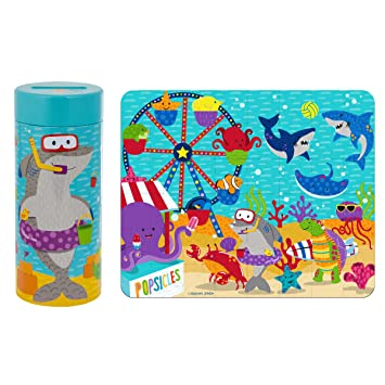 Stephen Joseph Tin Bank with Sea Carnival Puzzle Accessories, Turquoise