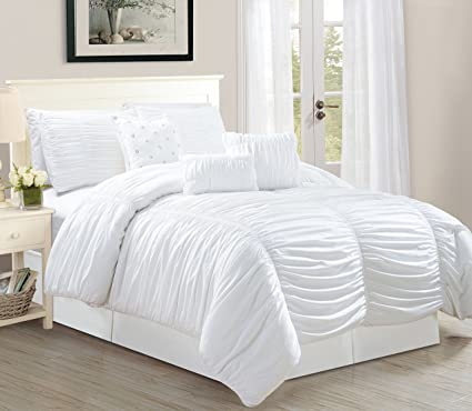 4e260b69006f4 Image Unavailable. Image not available for. Color  WPM 7 Piece Royal WHITE  Ruched comforter set Elegant bed ...