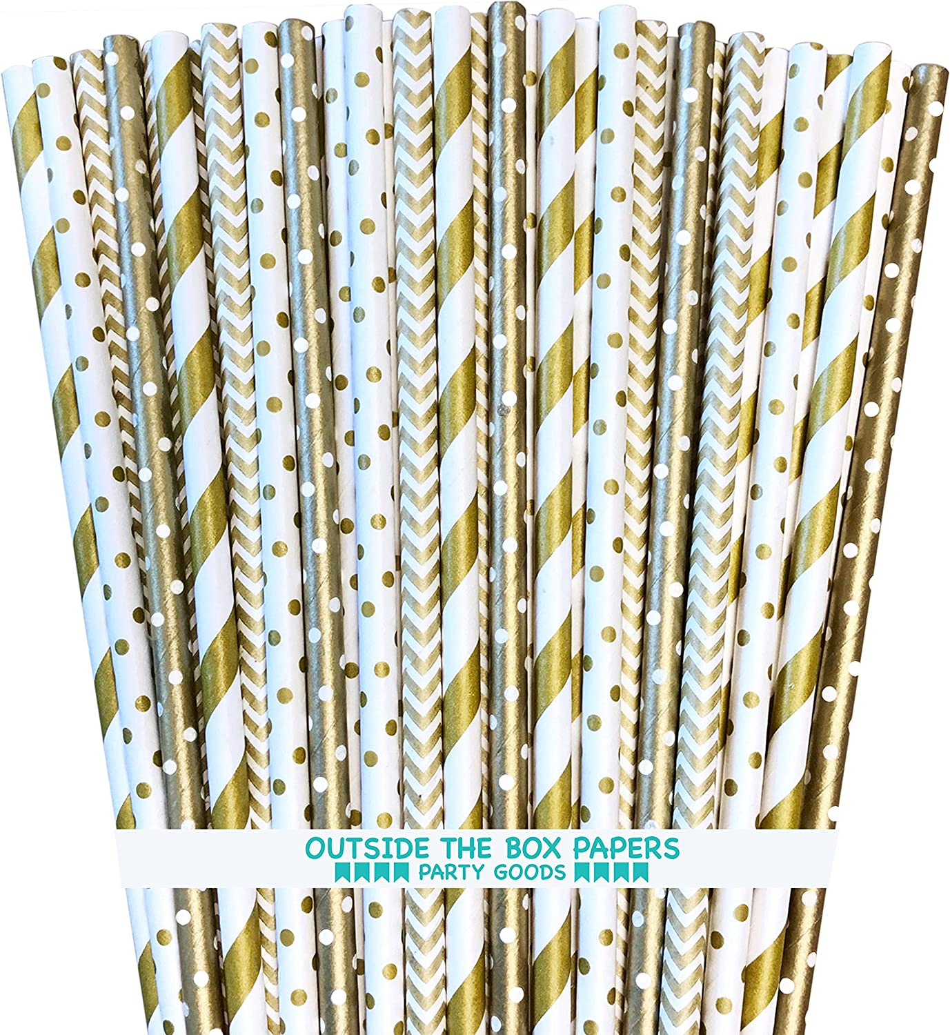 Gold Paper Straws - Stripe Chevron Polka Dot - 7.75 Inches - Pack of 100 - Outside the Box Papers Brand