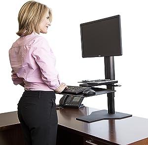 Uprite Ergo Sit2Stand Desktop Height Adjustable Workstation - Single Monitor - Black/Black