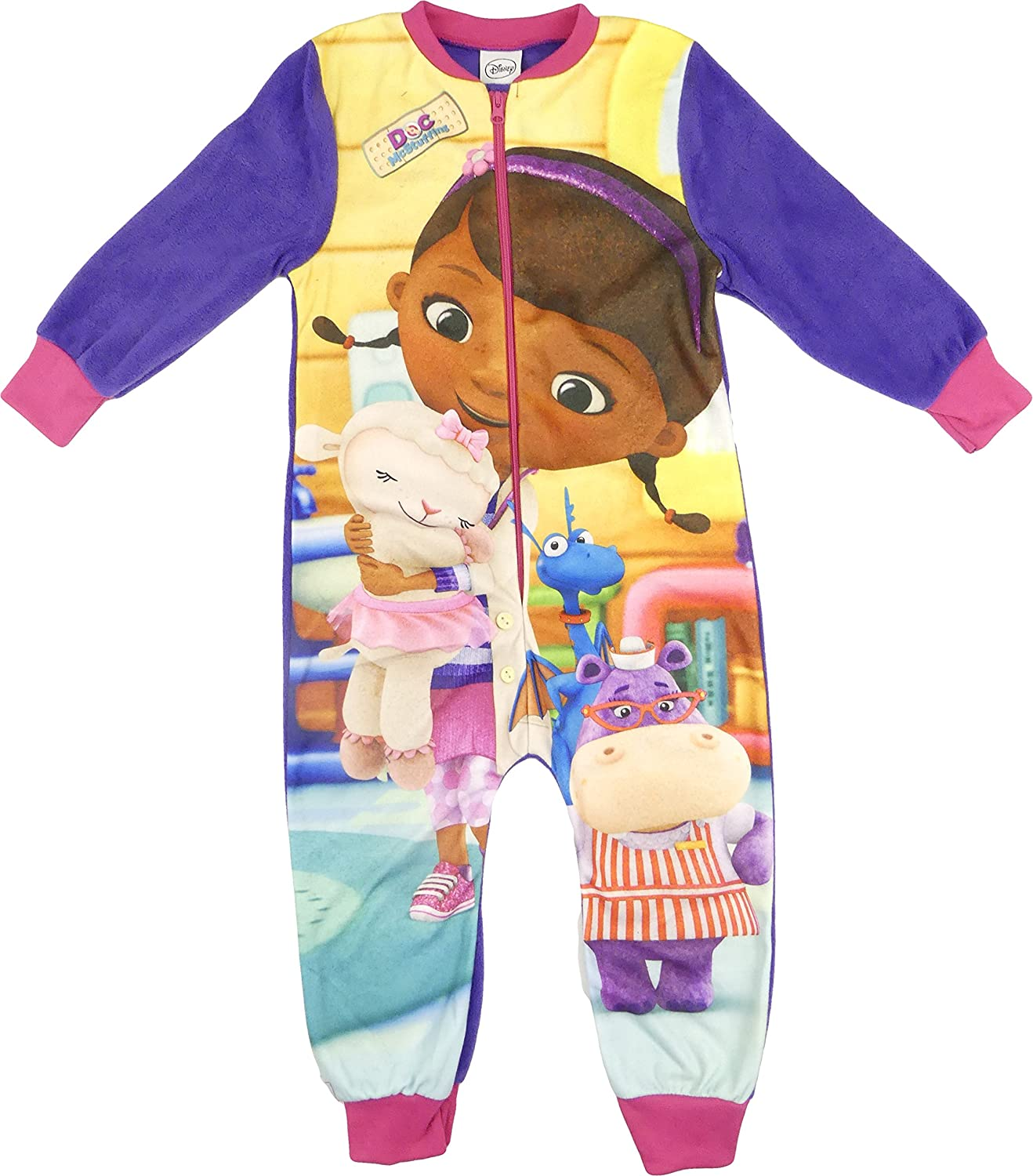Childrens Character Girls Doc Mcstuffin All In One Pyjama Sleepsuit Nightwear 2-3 4-5 5-6 and 7-8