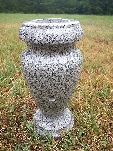 Turned Granite Vase Polished 4 x 8 Gray