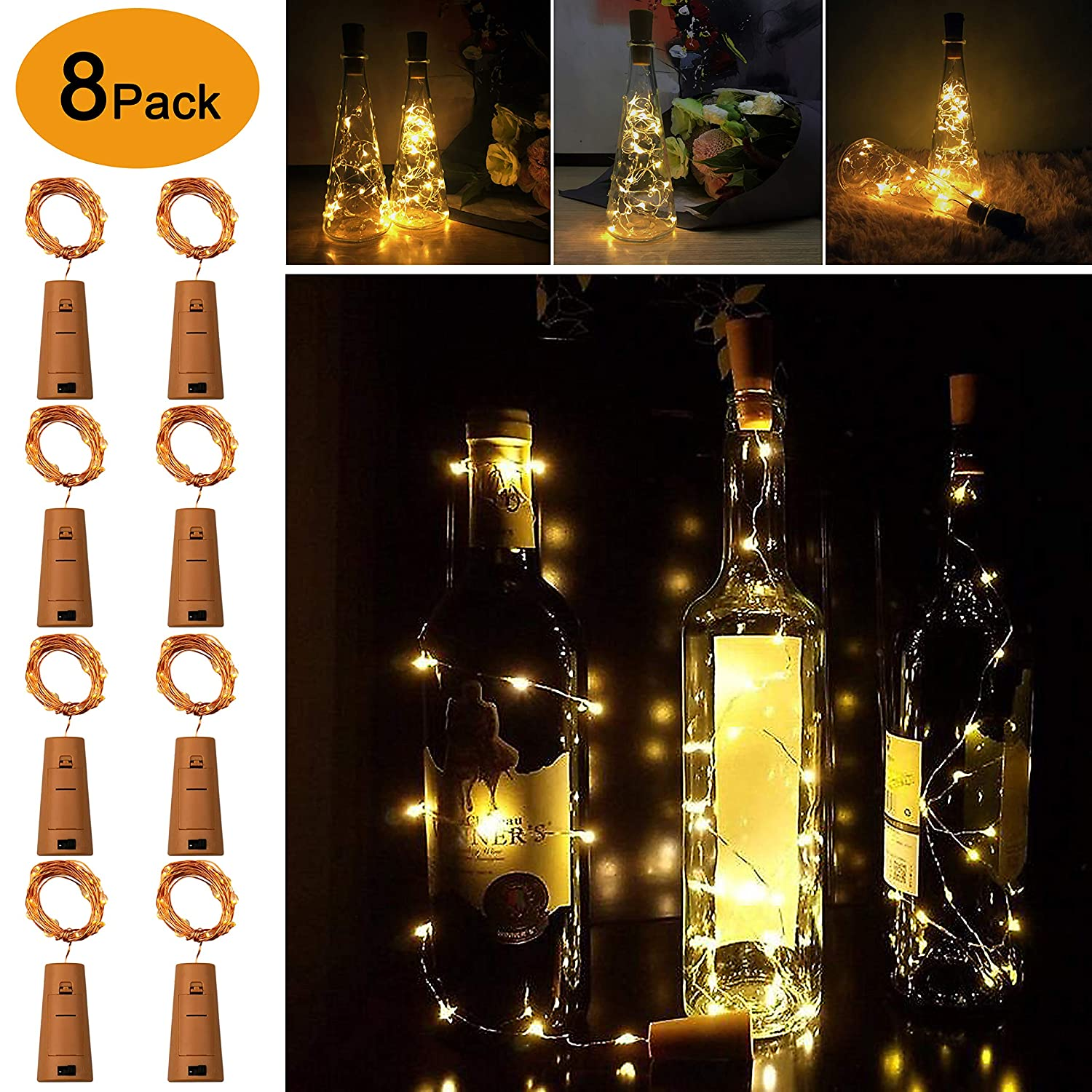 LED Bottle Cork Lights, Omew Wine Bottle Lights 2M/20LEDs Copper Wire String Lights for Bottle DIY, Parties, Wedding, Holiday Decor (8 Packs 2m/7.2ft Warm White)