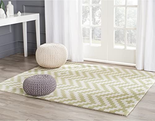 Safavieh Cambridge Collection CAM324N Handcrafted Moroccan Geometric Ivory and Light Green Premium Wool Area Rug 8' x 10'