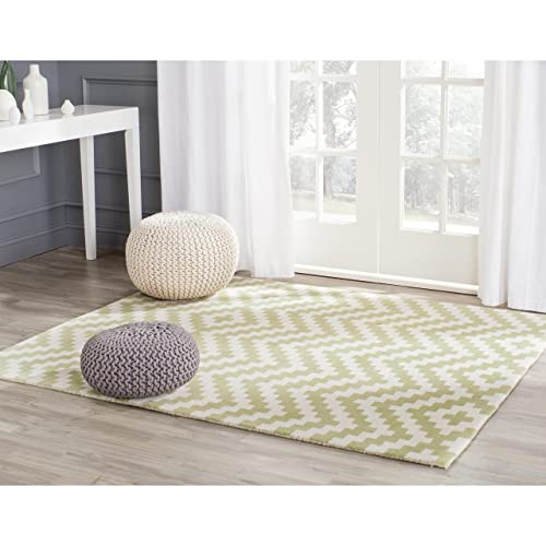 Safavieh Cambridge Collection CAM324N Handcrafted Moroccan Geometric Ivory and Light Green Premium Wool Area Rug 4 x 6