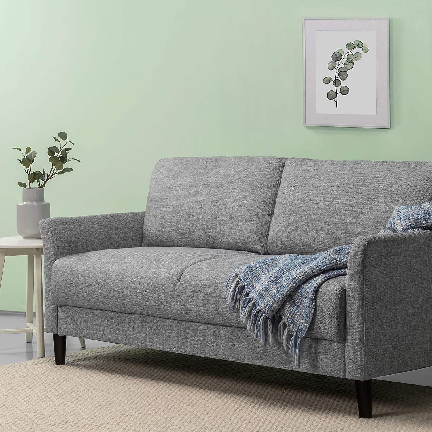 Amazon Com Zinus Jackie Sofa Couch Easy Tool Free Assembly Soft Grey Furniture Decor