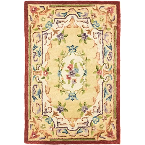 Safavieh Empire Collection EM822A Handmade Traditional European Gold Premium Wool Area Rug 2 x 3