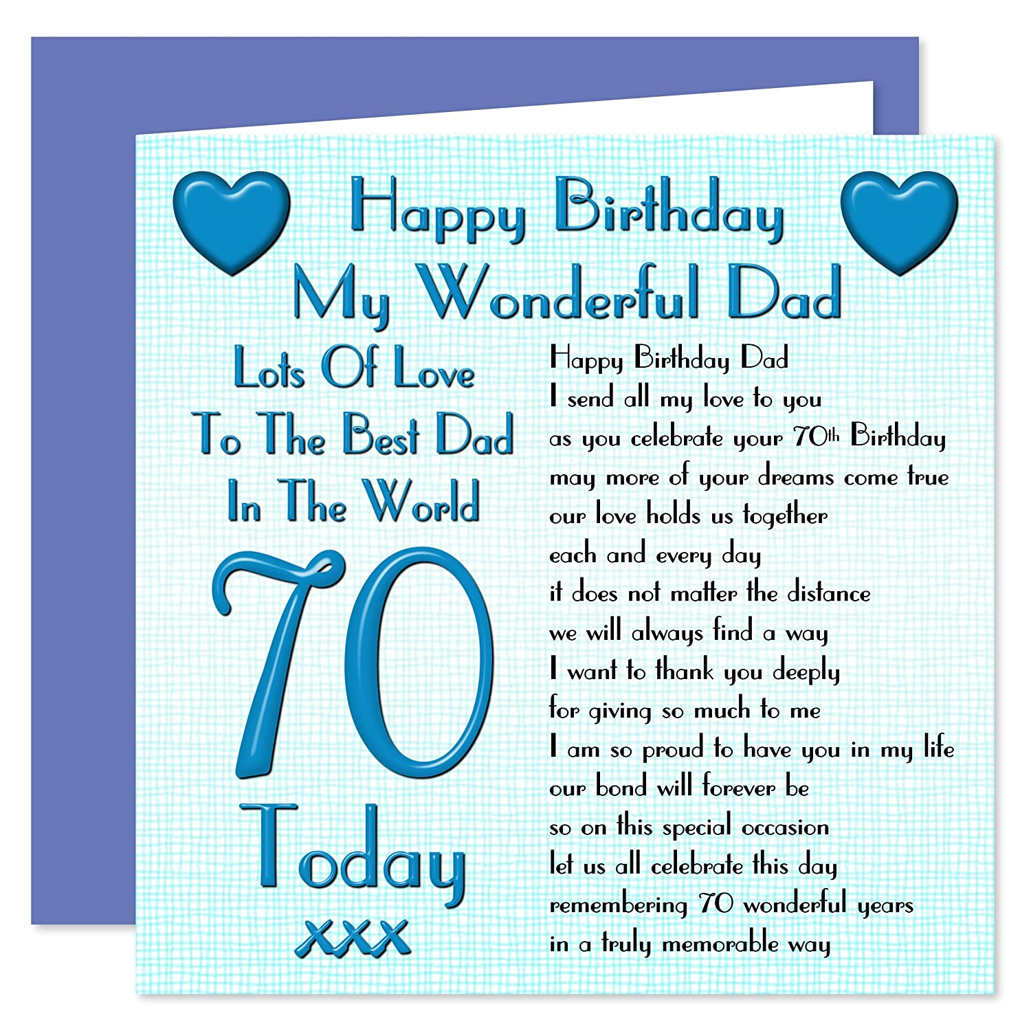 Dad 70th Happy Birthday Card