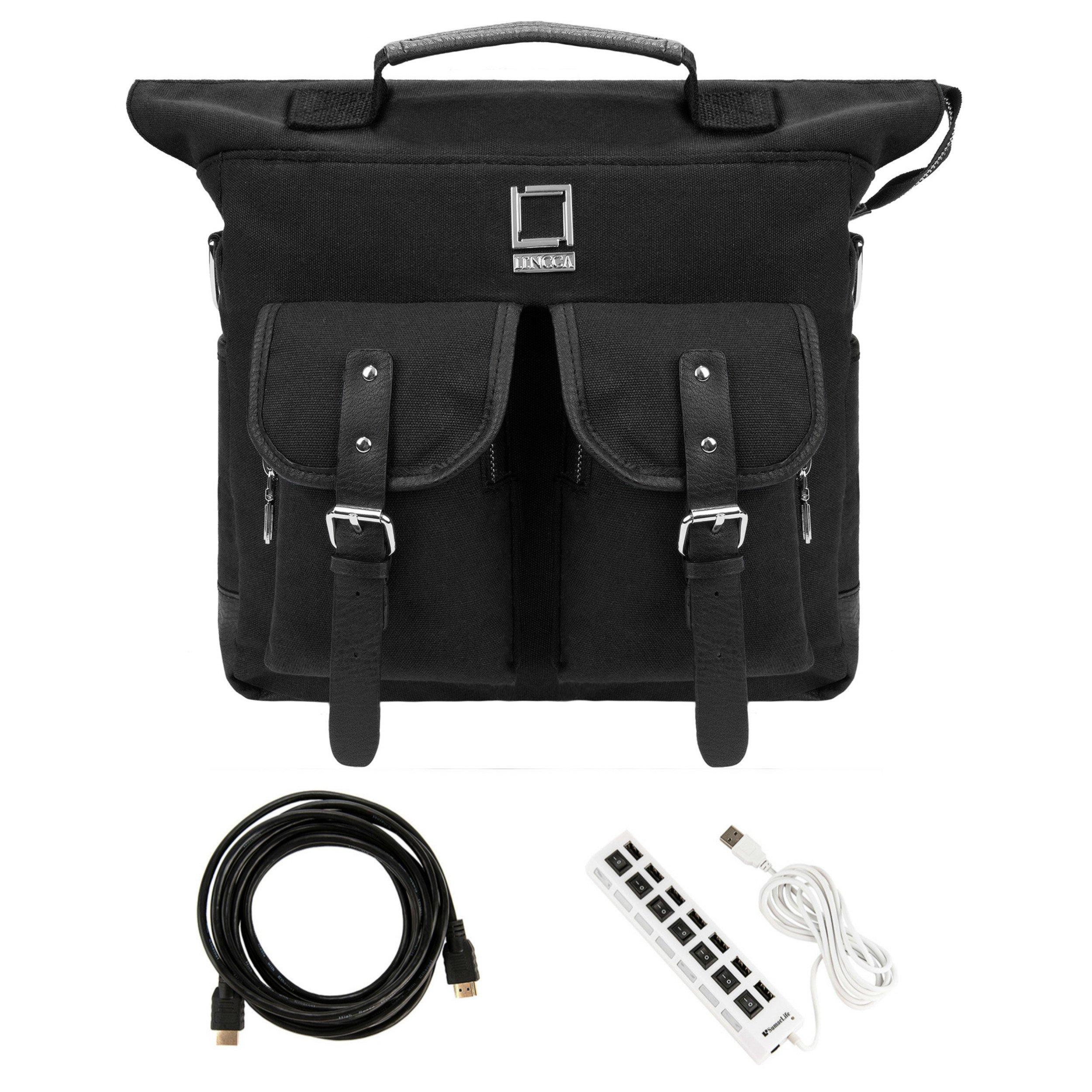 Lencca Durable Shock-proof Canvas Backpack Duffle Hybrid Bag Laptop Handle Case For Fujitsu 11.6'' Tablet Computer Black & 7 Port HUB & 8ft USB Cable