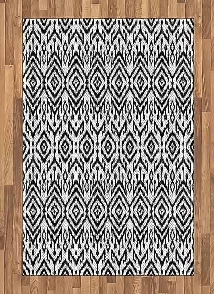 Amazoncom Ambesonne Black And White Area Rug Monochrome Ikat