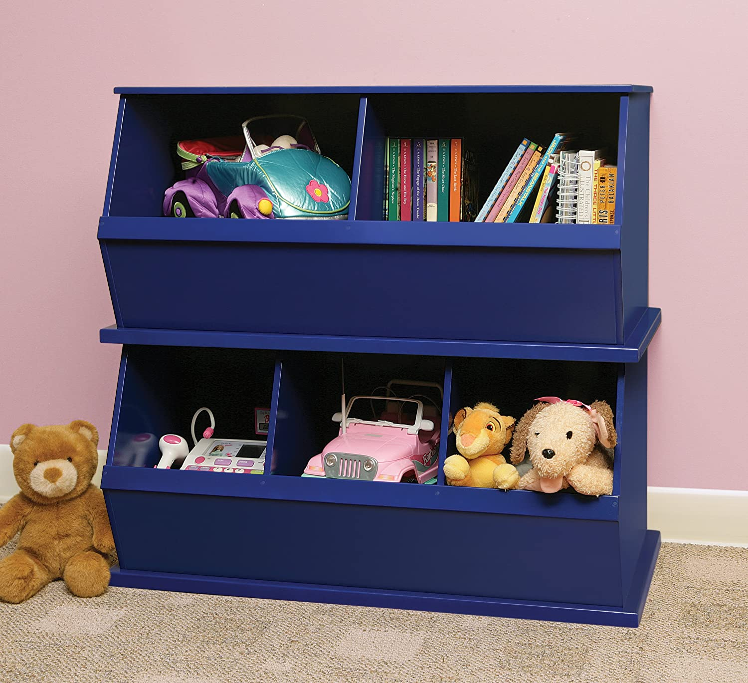 Amazon.com : Badger Basket Three Bin Storage Cubby, Blue : Childrens Storage  Furniture : Baby
