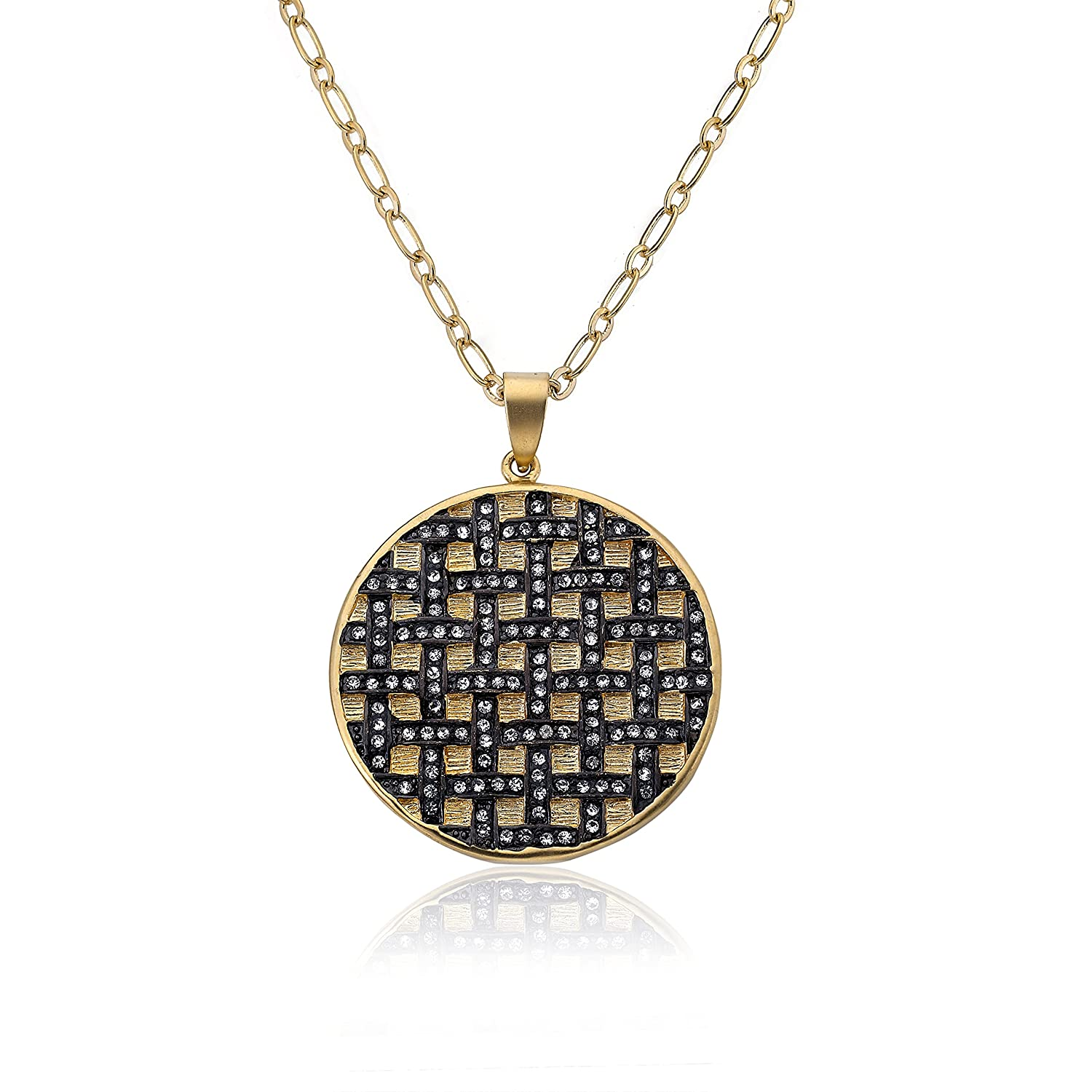 Hypoallergenic and Nickel Free for Sensitive Skin Goldtone Crystal Round Pendant Necklace Riccova Womens Jewelry